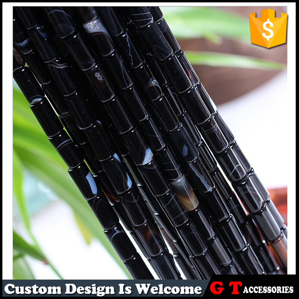 High quality Natural Loose Black Striped Agate Column Beads Stripe Beads For Jewelry Macking