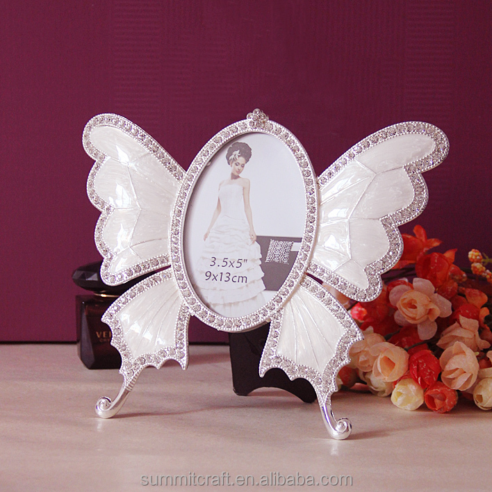 Metal rhinestone butterfly animal shape photo picture frames wholesale