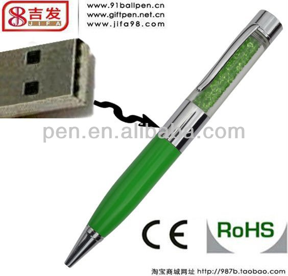 hot sell 2 in 1 usb ballpen with crystal