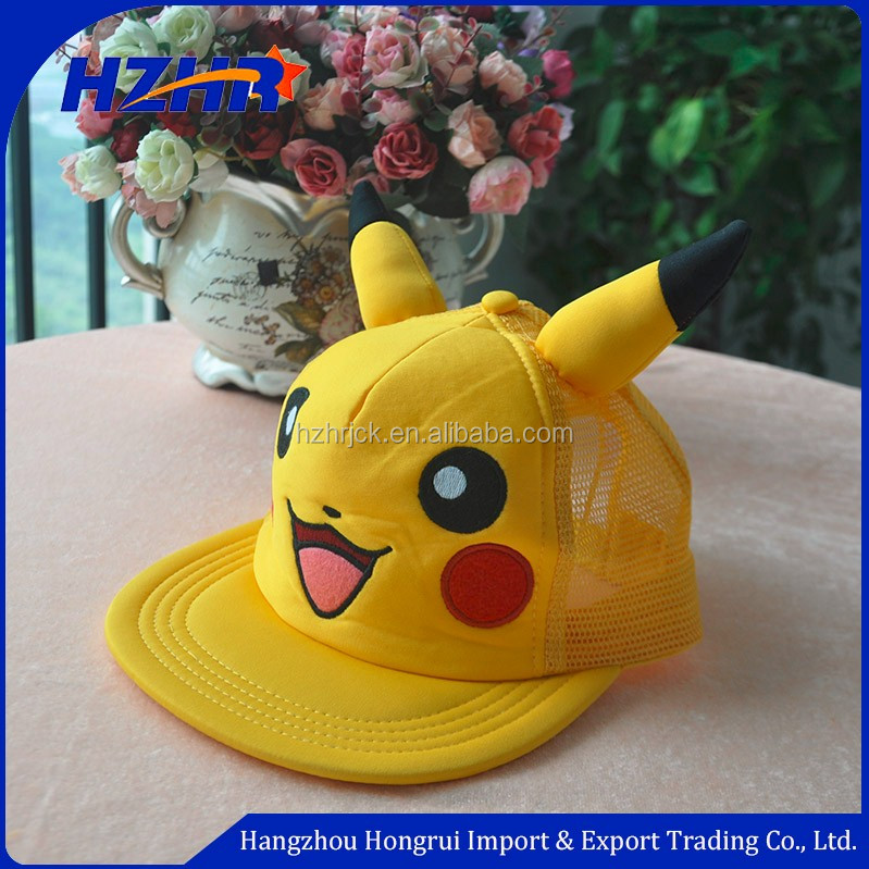 Pokemon Pikachu Hat with Ears Baseball Snapback Cap for The Valentine's Day Lovers hat