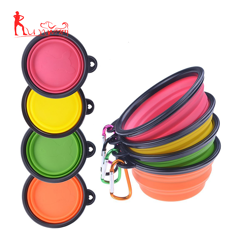 Dog Bowl, Food Grade Silicone BPA Free FDA Approved, Foldable Expandable Cup Dish for Pet Food Water Feeding Portable for Travel