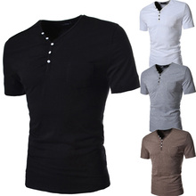 ATS159 Richable Man Summer Casual T shirts Fashion Slim Fit Short-Sleeve V-Neck T-Shirt Button Decorating Tops