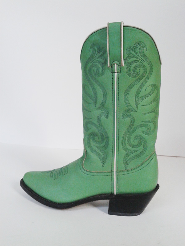 Fashion Bright Green Leather Riding Boots