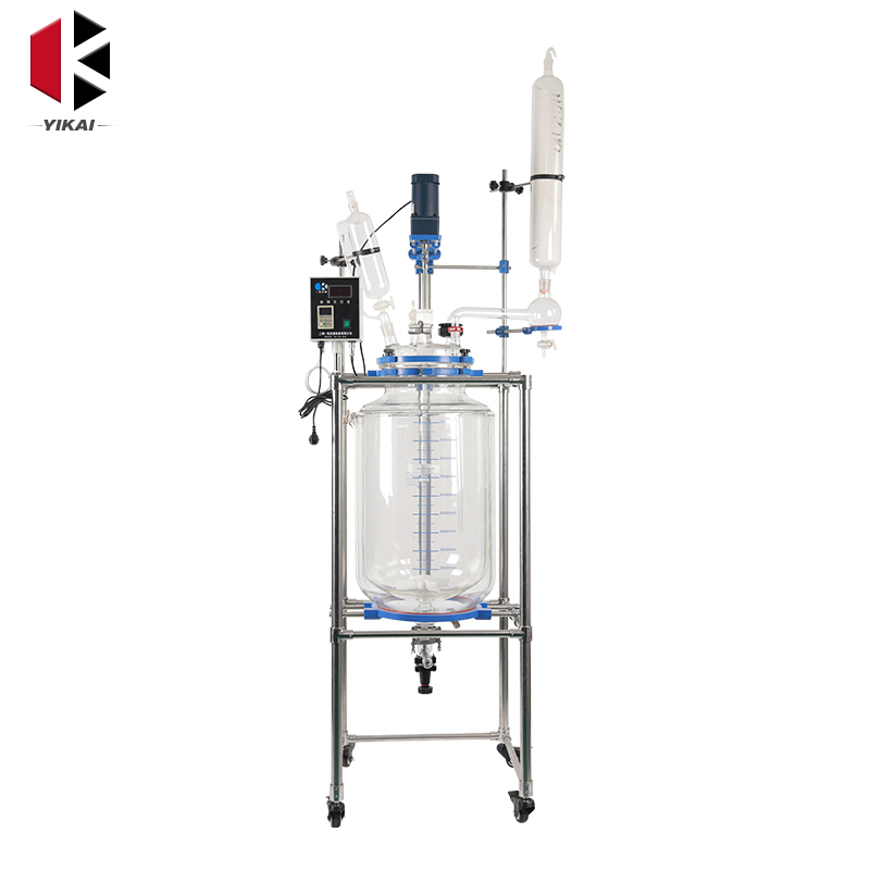 Chemical Reaction Vessel 50l Jacketed Glass Chemical Reactor With Top Quality