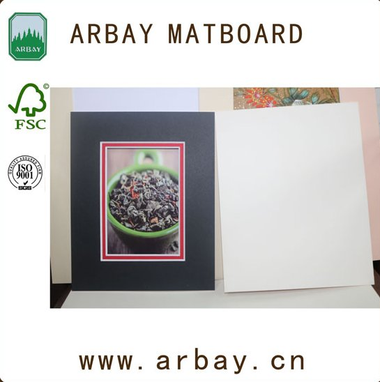 Wholesale black Paper photo frame mount board with 1.0mm backing board