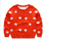 2016 new design crew neck buttoned red white girls polka dots knit cardigan