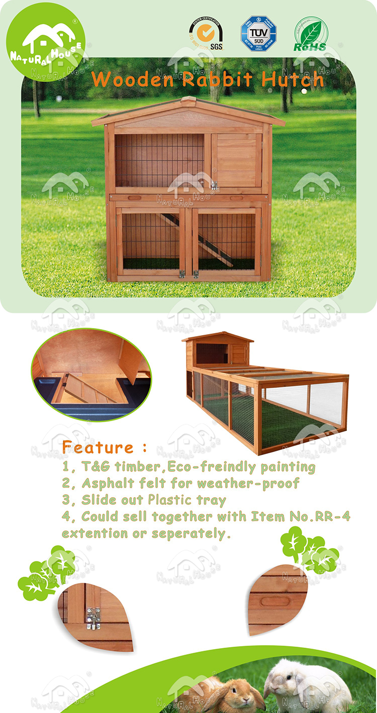 Cheap 2 story wooden rabbit hutches , Item no. RK-24
