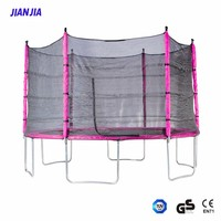 15-Feet Pink Trampoline with Safety Net Enclosure and Spring Pad