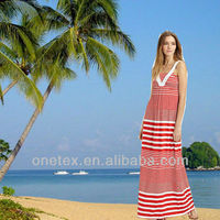Ladies' y/d stripe holiday long dress