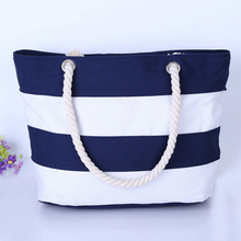 Fashion stripe canvas beach tote bag wholesale