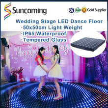 Professional Entertainment Housing Tempered Glass ABS base Led Dance Floor with sensor