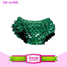 Wholesale in stock children green ruffle bloomers shiny print spandex mermaid fabric plain dyed girl boys icing triple bloomers