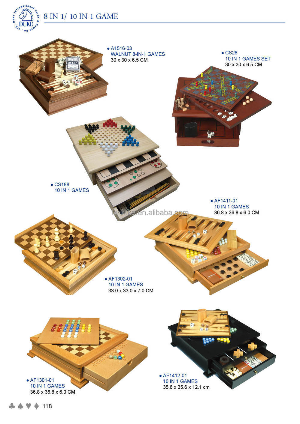 Small Table Style 8 In 1 Multiple Wooden Board Game Set