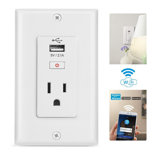 Wi-Fi Smart Socket,USB Wall Plug,Works with Alexa,Wall Adapter with 1 Outlet Plug Power Charger ,1 USB Charging Ports Wall Socke