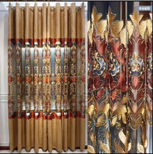 Luxury Blackout Curtains For Living Room Peacock Feather Blinds Jacquard Drapes For Bedroom Chinese Window curtains
