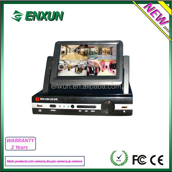 "Low price!!! 7"" LCD Monitor H.264 4CH Full D1 CCTV DVR, Support P2P"