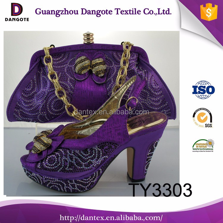 wholesale dresses shoe and bag set african shoes and bags to match party dress with rhinestone TY3303 in purple