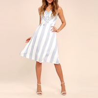 Blue And White Striped Lace-Up 2017 Ladies Office Dresses For Women
