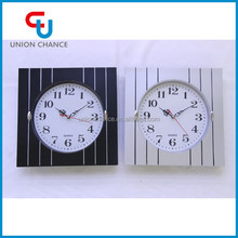 Black and White Stripe Quantity Buying Modern Square Wall Clock For Home Decor