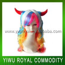 Halloween Rainbow Bright Color Party Wigs With Oxhorn