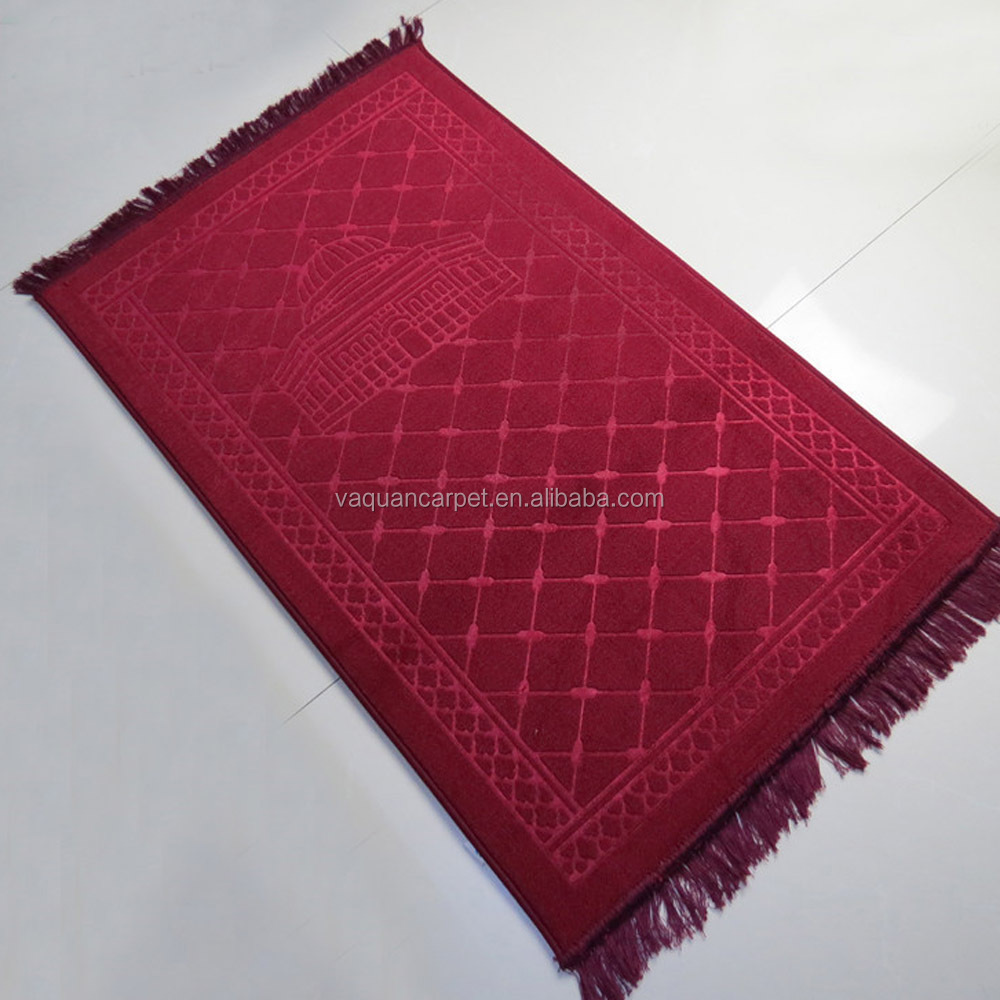 High Quality Raschel Embossing Muslim Prayer Rug Mat for Prayer Room