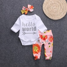 autumn fall hello world infant toddler Newborn Baby clothing Girls Long Sleeve Rompers+flower Leggings+Headband 3pcs Outfits Set