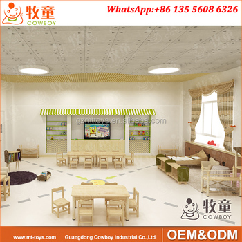 Cowboy Wooden Pre School Furniture Wood Table and Chairs Suppliers in Guangzhou China