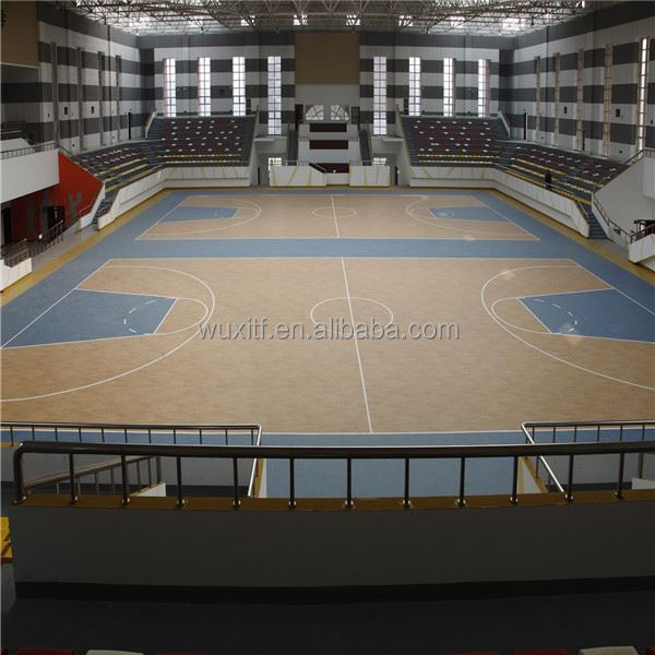 New material easy to clean wooden pattern indoor pvc basketball flooring from china