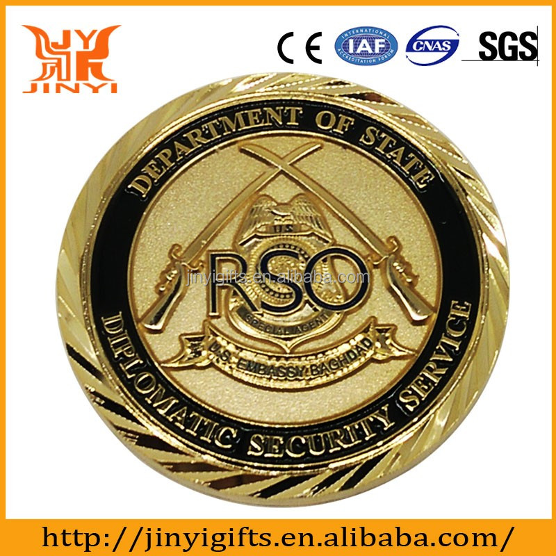 Manufactory Production Custom Gold Plated Metal Souvenir Coin