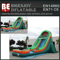 Green water pool inflatables slide