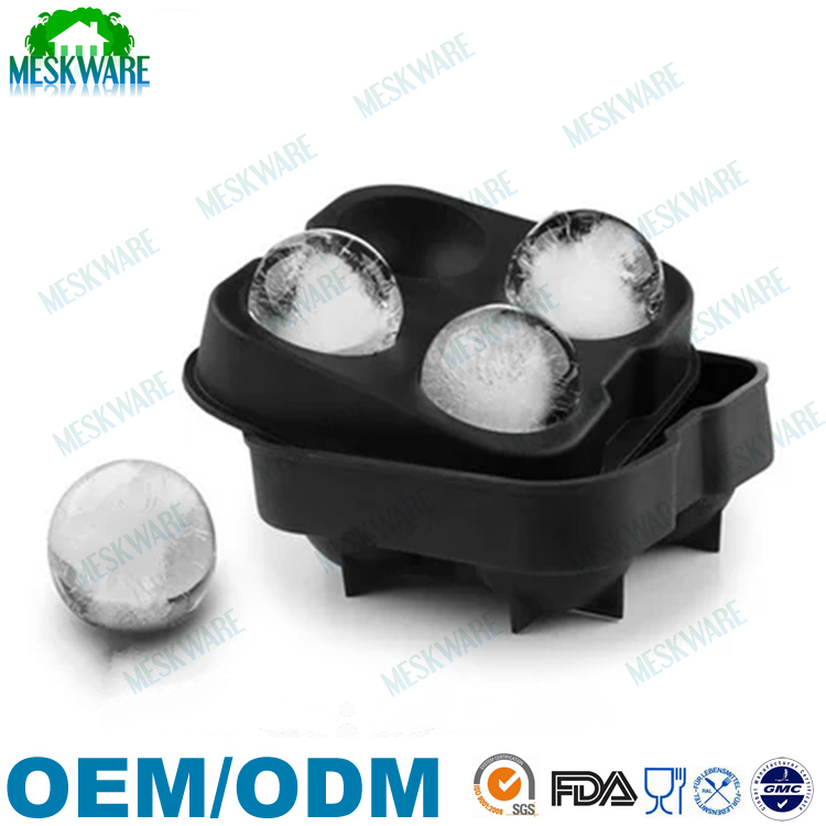 Deluxe good quality black food grade silicone ice ball maker, ice ball mould
