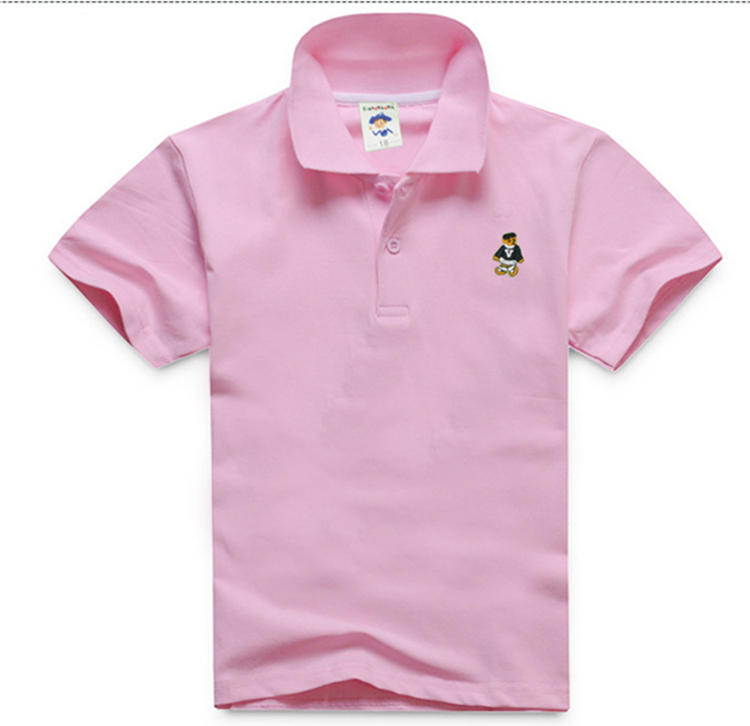 Embroidered design simple cotton kids boys short sleeve pink polo shirt wholesale(A953)