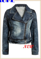 Motorcycle Jeans Women Top And Photo Jacket-Classical Denim Jacket Add Lining Inside With Zipper Ladies Bomber Stylish Jacket