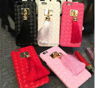 Luxury Gilt Pendant Tassel Back Cover Top Quality PC + PU Leather Weave Pattern Skin Phone Case For iPhone 5 5s 6 6Plus