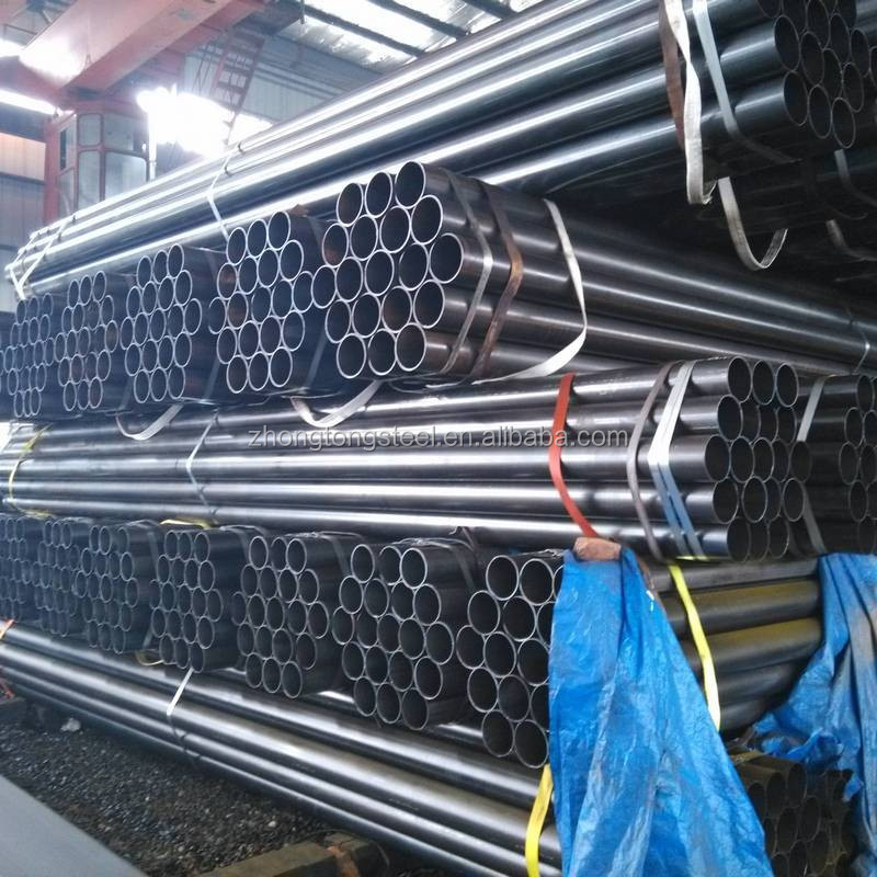 galvanized ERW round section steel pipe galvanized and black colored