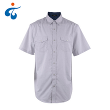 Low price of fashion 100% cotton short sleeve jacquard cheap shirts made in china