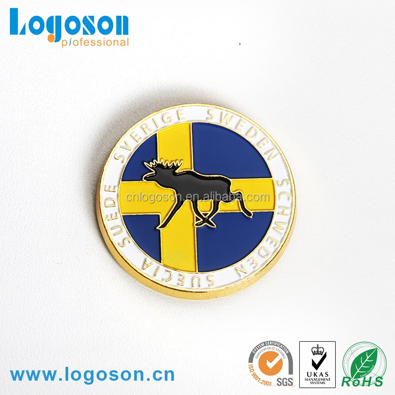 Wholesale Sweden Souvenir Round Shape Custom Metal Fridge Magnet
