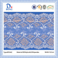 Peacock style london pantyhose embroider border lace fabrics
