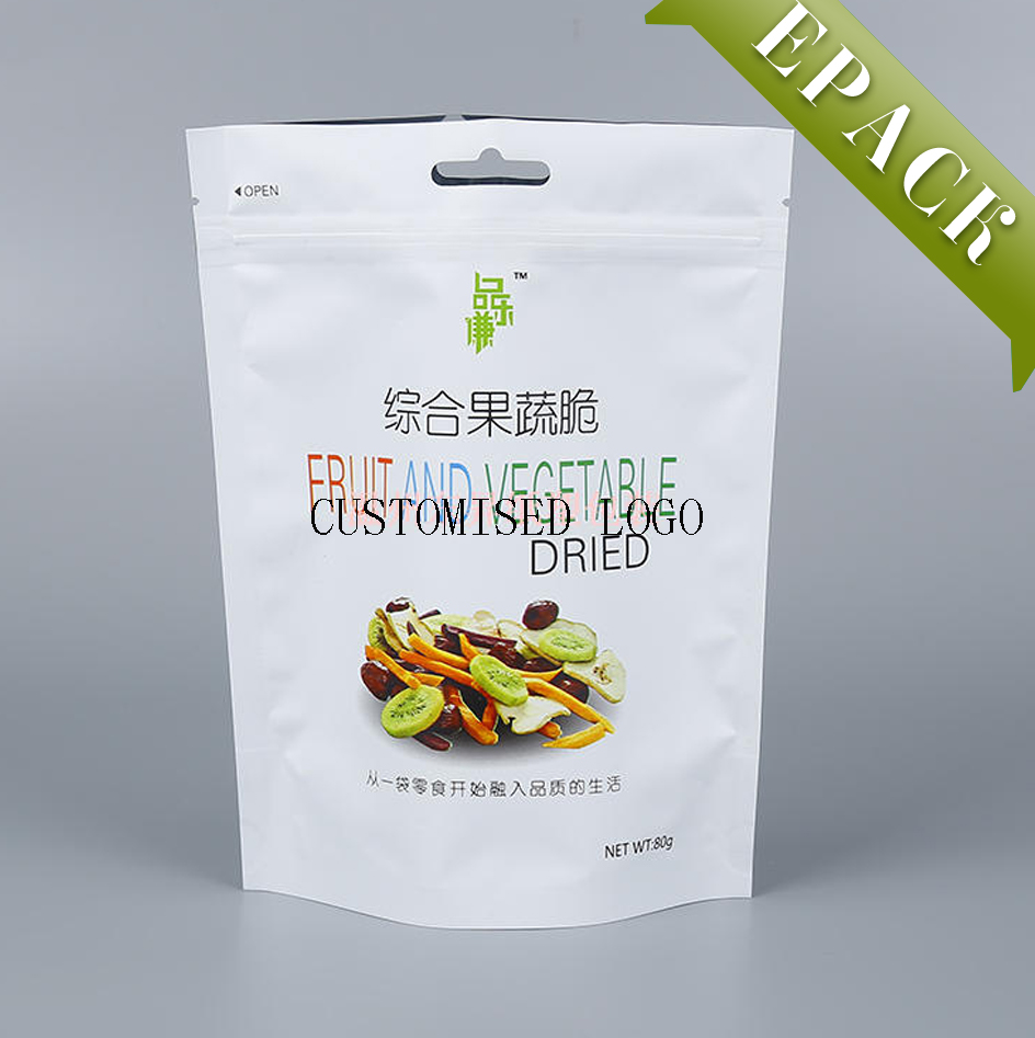 Custom printed matte black stand up clear window plastic food packaging vacuum zipper bag