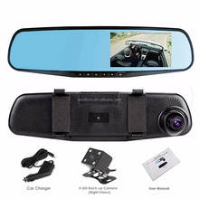 1080P 4.3 Inch LCD 140 Wide Angle Dual Lens Rearview mirror car black box Video Recorder Driving on Dash Camera