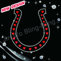 Beautiful horseshoes crystal motifs iron on design