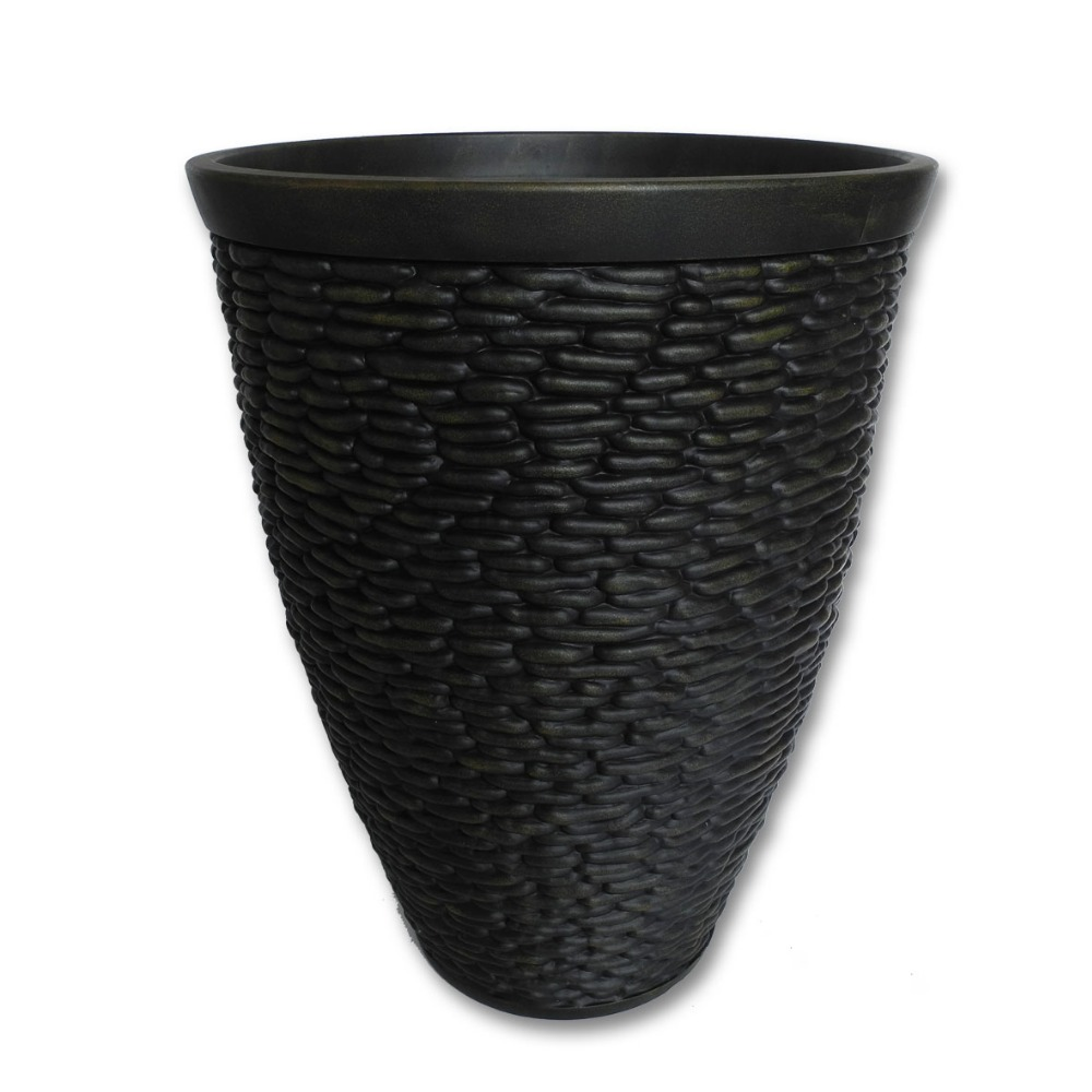 round cobblestone pp plastic planters wholesales / OEM / customized / for indoor outdoor decoration and home garden