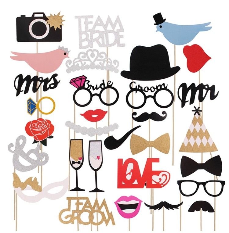 Mr Mrs Just Married Funny Sparkling Bridal Shower Event Party Supplies Bride Groom Wedding Photo Booth Props