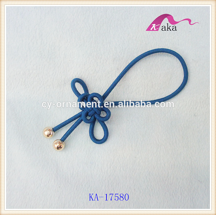 Fashion Brief Chinese Knot Hair Holder Human Hair Ponytail With Bead