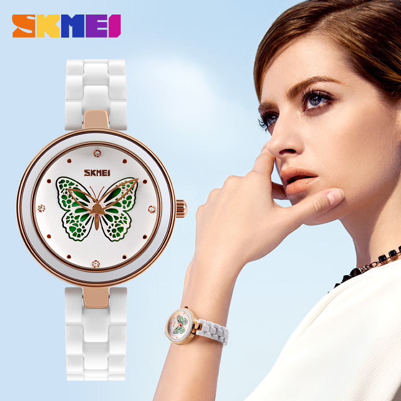 skmei women watch butterfly dial watch woman new arrivals ceramic band white color