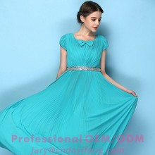 New fashion short sleeve chiffon long dress for party