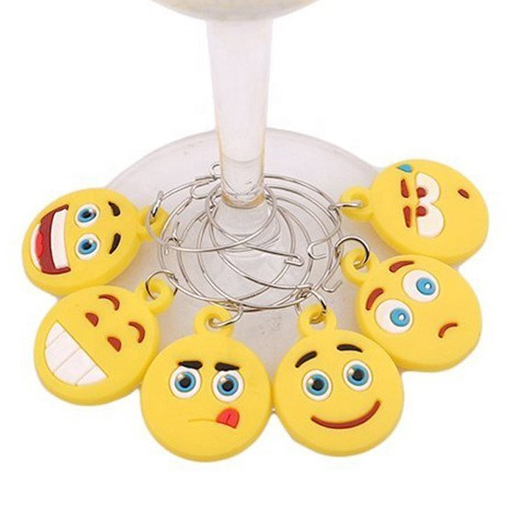 Hot selling custom pvc emoji wine glass <strong>charms</strong>