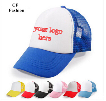 quick custom logo snapback caps for kids students child trucker cap mesh baseball hat cap image texts print for team