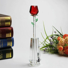 Hot Wholesale crystal glass love roses for wedding souvenir & gift