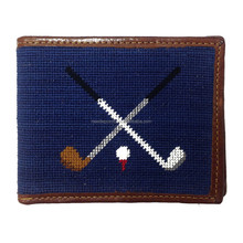 Crossed Golf Clubs Handmade Leather Men Wallet
